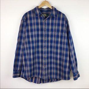 🌵Cabelas Mens Blue Plaid Shirt Size L